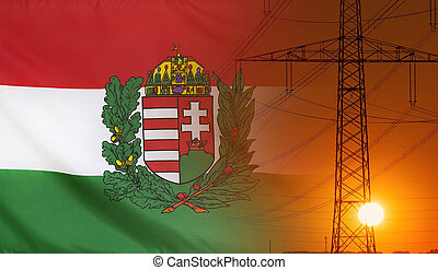 Energy Concept Hungary Coat of Arms Flag with sunset power pole
