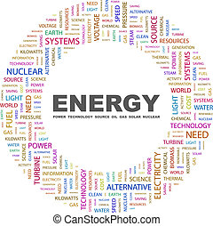 ENERGY. Concept illustration. Graphic tag collection. Wordcloud collage.