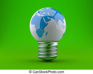 Energy concept. Light bulb with planet earth