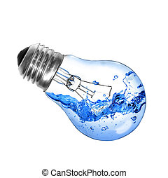 Light bulb with water - Energy concept. Light bulb with...