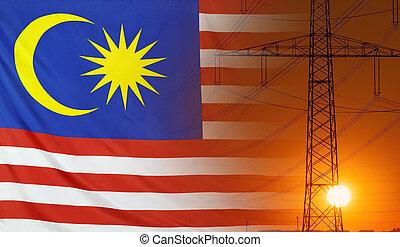 Energy Concept Malaysia Flag with sunset power pole