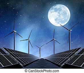 energy concept - solar energy panels and wind turbines in...