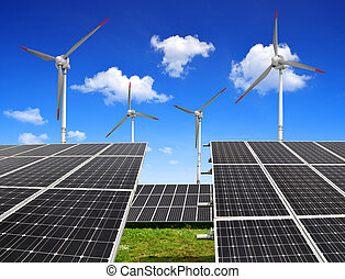 energy concept - Solar energy panels and wind turbines