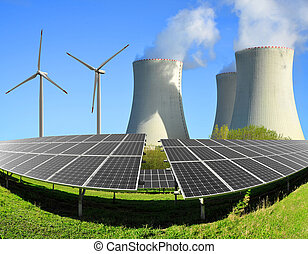 energy concept - Solar energy panels, wind turbines and ...