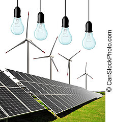 energy concept - Solar energy panels with wind turbines and...