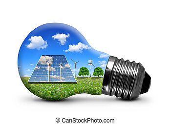 energy concept - Solar panels and wind turbines in light...