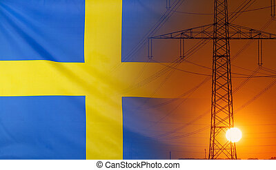 Energy Concept Sweden Flag with sunset power pole
