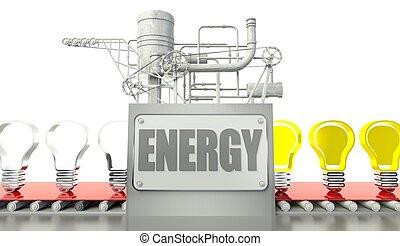Energy concept with light bulbs