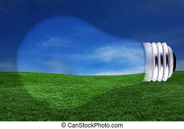 Energy Concept With Lightbulb and Landscape Concept