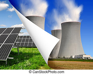 energy concepts - Solar panels and nuclear power plant