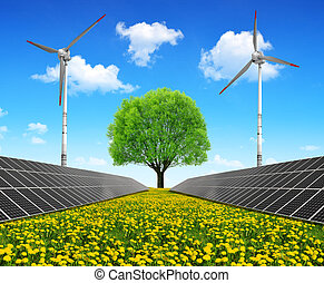 Energy concepts - Solar energy panels with wind turbines and...