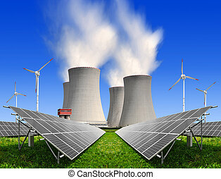 energy concepts - Solar energy panels before a nuclear power...