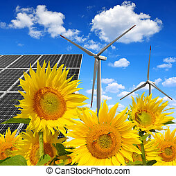 Energy concepts - Solar energy panels with wind turbines in...