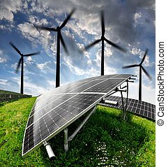 energy concepts - solar energy panels and wind turbine
