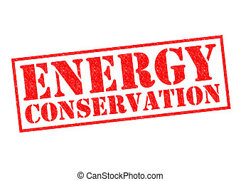 ENERGY CONSERVATION red Rubber Stamp over a white...