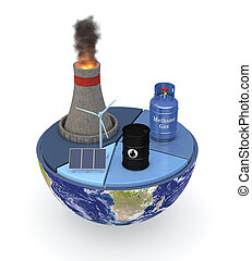 energy consumption statistics - half of an earth globe with...