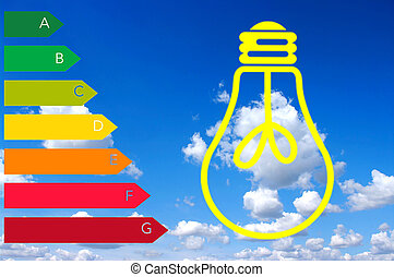 energy consumption - stylized light bulb, energy certificate