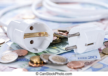 Energy Costs concept with European money (close-up shot)