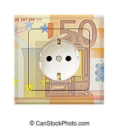energy costs - fifty euro banknote combines with a electric...