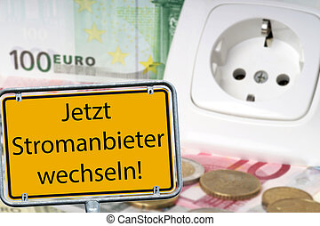 Energy costs - Socket and euro banknotes