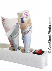 Energy Costs - Power strip with euro notes - isolated on...