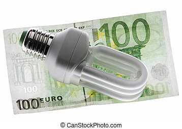 energy costs - energy efficient bulb on a 100 Euro cash note