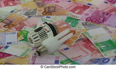 Energy costs - Energy saving bulb and thermostat - rotating...