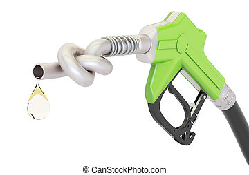 Energy crisis concept. Gas pump nozzle tied in a knot, 3D rendering