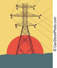 Energy distribution high voltage power line tower with wires vector