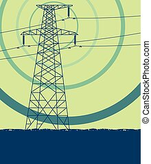 Energy distribution high voltage power line tower with electromagnetic field vector
