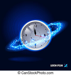Energy - Clock surrounded by a stream of blue energy in the...