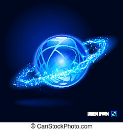 Energy - Sphere surrounded by a stream of blue energy in the...