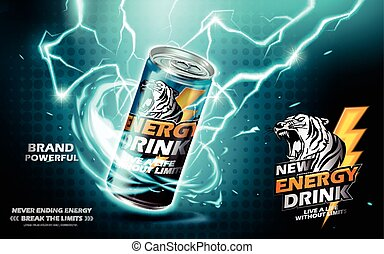 energy drink ad - energy drink contained in metal can with...