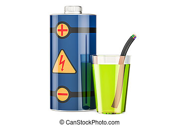 energy drink concept with battery, 3D rendering