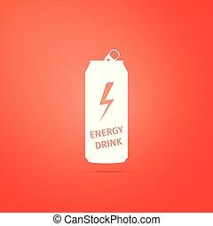 Energy drink icon isolated on orange background. Flat design. Vector Illustration