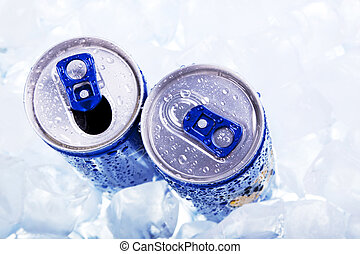 Energy drink in ice! Top view