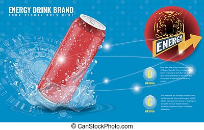 Energy drink metal can mockup with water splash and drops for advertisement layout 3d template for your design. Illustrated vector.