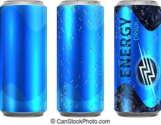 Energy drink metal can. Realistic aluminium cans of cold coffee. Drinks bottle with water drops vector mockup