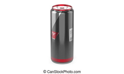 Energy drink can rotates on white background