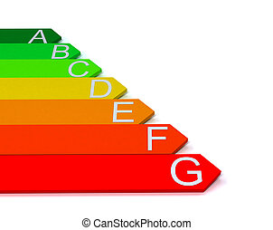 Energy efficiecy scale over white b