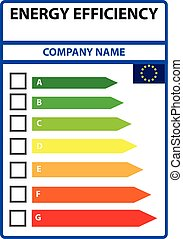 Energy efficiency card to indicate appropriate class. Vector...