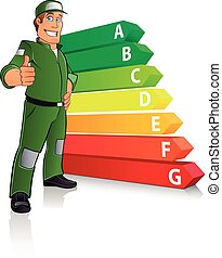 Energy Efficiency Chart with a cartoon man