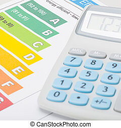 Energy efficiency chart with calculator - accounting concept