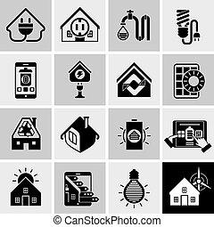 Energy Efficiency Icons Black