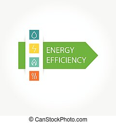 Pattern vector logo with symbols of natural resources and energy. Saving energy resources. Improving energy efficiency. Green Arrow.