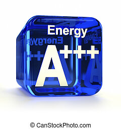 Blue energy efficiency rating A+++ computer icon. Part of an icon set.