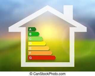 Energy efficiency rating charts with house