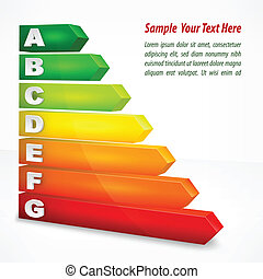 Energy efficiency rating color with arrows on white, vector illustration