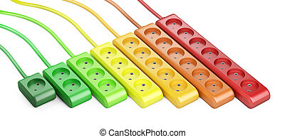 Energy efficiency rating concept. Row from color electrical extension strip.