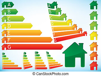 Energy Efficiency Rating Graphs in colour combining bar arrows and houses, set of illustrations.